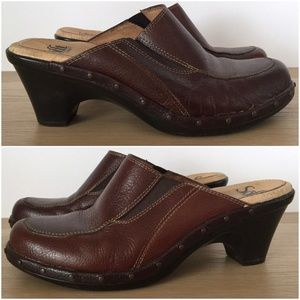 SOFFT Brown Leather Mules Slides Clogs Heels Shoes